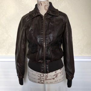 Price Drop 🎀 Brown Faux Leather Moto Jacket